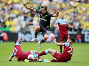 West Ham were far too good for Norwich on Saturday, winning 2-0. They had the likes of Declan Rice and Ryan Fredericks flying into tackles like this across the park.