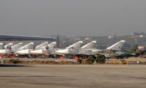 Russian fighter jets on the ground in Syria's Latakia province