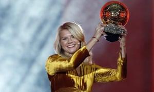 Ada Hegerberg holds her Ballon d'Or.