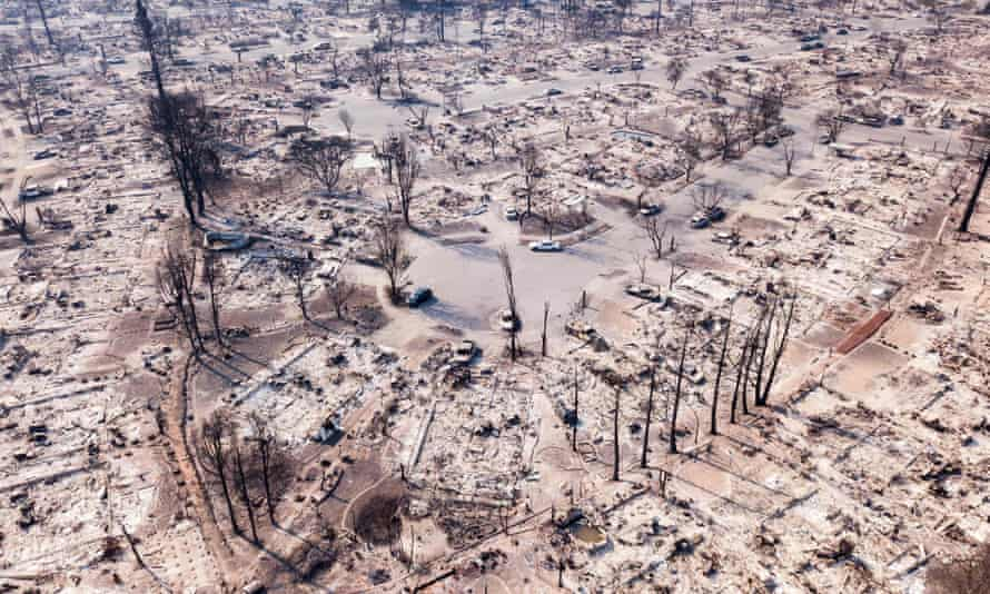 Fire damage is seen from the air in the Coffey Park neighborhood in Santa Rosa, California, after the 2017 wildfire.