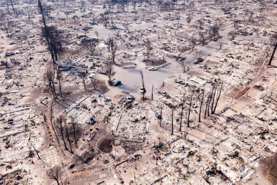 Fire damage is seen from the air in the Coffey Park neighborhood in Santa Rosa, California, on 11 October 2017.