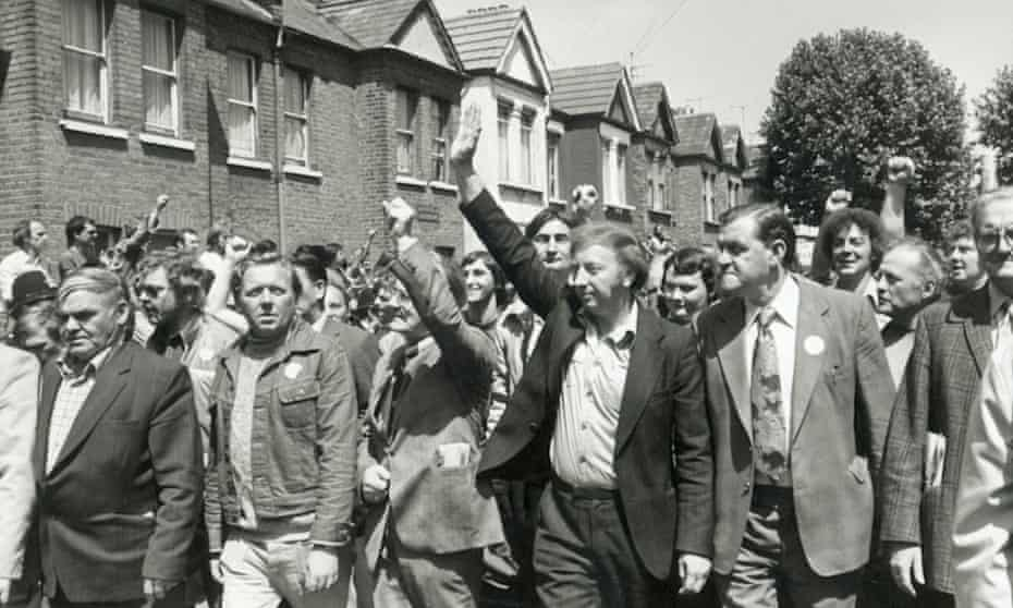 """Miners' leader Arthur Scargill leading a """"day of solidarity"""" march during the Grunwick dispute."""