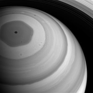 9 September 2016 Saturn's north pole is bathed in sunlight, feeble though the light may be at Saturn's distant domain in the solar system. The hexagon-shaped jet-stream is fully illuminated. The planet appears darker in regions where the cloud deck is lower, such as the region interior to the hexagon. The image was taken with the Cassini spacecraft wide-angle camera at a distance of approximately 1.2 million km (750,000 miles) from Saturn. Image scale is 74km (46 miles) a pixel