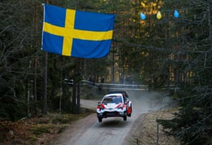 Torsby, Sweden. Sébastien Ogier and co-drive Julien Ingrassia of France take part in a rally in their Toyota Yaris WRC