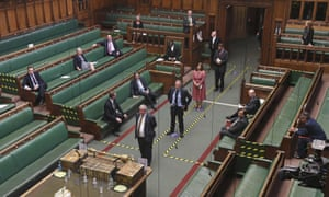 A socially distanced vote in the commons in June.