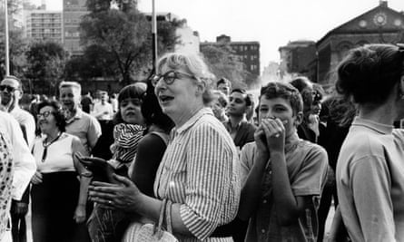 Author and activist Jane Jacobs at a community meeting in Greenwich Village's Washington Square Park in 1963.