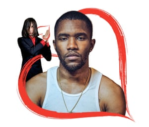 Composite of Bobby Gillespie and Frank Ocean in a red heart, for a piece about teenage crushes