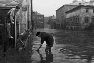 1940sFlooding in Kursoviy lane after storm rains by Semen Mishin-Morgenstern
