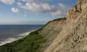 The cliffs in which the fossils were found, on the coast of the White Sea in Russia.
