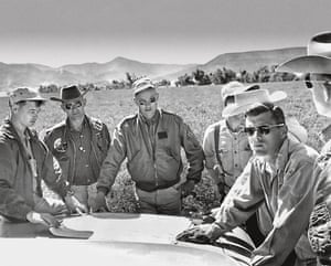 Left to right: Marty Kane of the United States Geological Survey, astronauts Alan Bean, Neil Armstrong, Bill Anders and Roger Chaffee, and Joel Watkins (USGS) on geology training near Cimarron, New Mexico, in June 1964