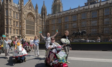 A Disabled People Against Cuts protest in Westminster