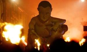 An effigy of David Cameron at the 2015 Lewes bonfire