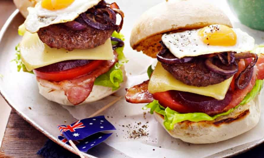 """A """"burger with the lot"""". A burger with eggs, cheese, and all the trimmings which is popular in Australia."""