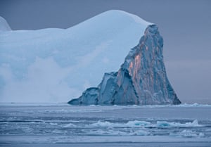 An iceberg in the ice fjord of Ilulissat