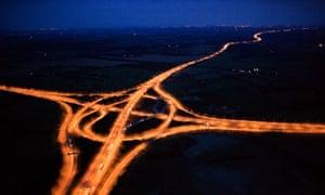 Aerial photograph of motorway at night