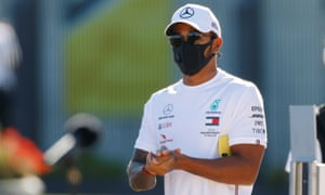 Lewis Hamilton in a mask as the British Grand Prix