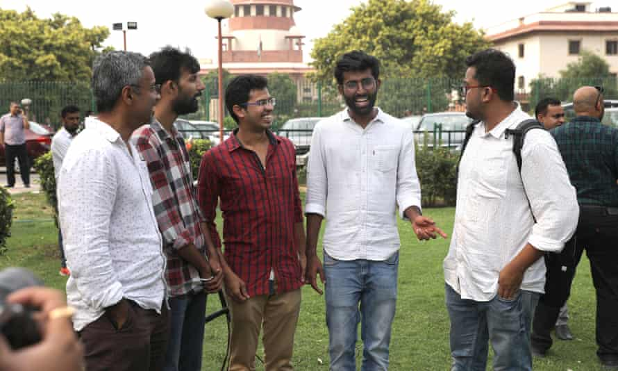 LGBT activists near the supreme court in Delhi