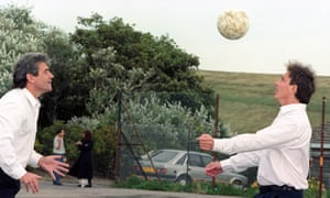 Kevin Keegan and Tony Blair play head tennis during the Labour party conference in Brighton in 1995.