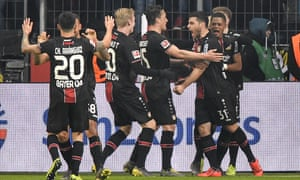 Leverkusen's Kevin Volland celebrates after scoring Bayer's second against Bayern Munich