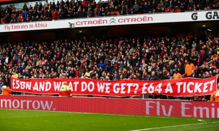 A banner at Arsenal's Emirates Stadium spells out the feelings of supporters.