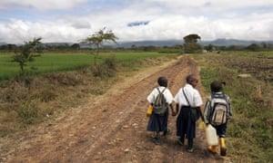 Kids walk to school in Tanzania