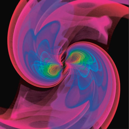 A simulation of a pair of colliding black holes like the ones that produce gravitational waves