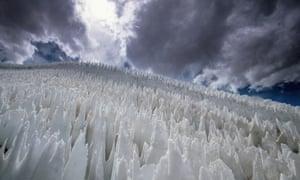 Nieves penitentes in Paso del Agua Negra, Chile.