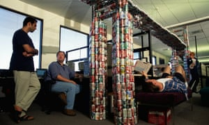 Workers at Netscape work and play around a replica of the Golden Gate Bridge made from soft drink cans in 1999. Marc Andreessen, the company's founder, is now the head of influential venture capital firm Andreessen Horowitz.