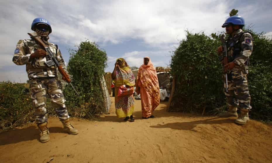 UN peacekeepers at a refugee camp in Sudan