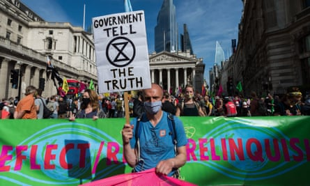 An Extinction Rebellion protest in central London on 10 September to support the climate and ecological emergency bill.