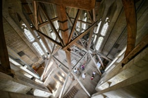 Salisbury, EnglandVisitors gather in the bell tower of the city's cathedral