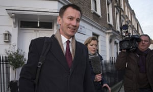 Jeremy Hunt leaves his London home on 12 February.