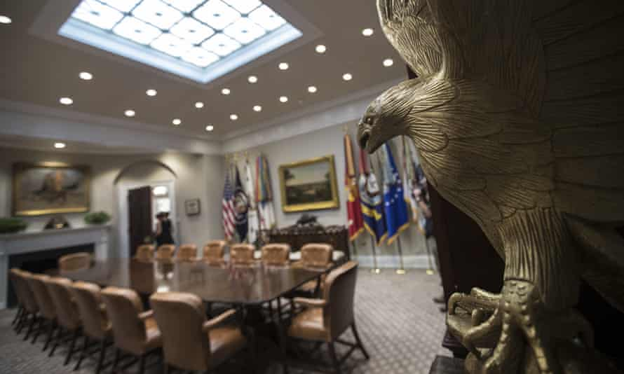 'Straight out of a corporate conference centre' … an eagle statue hovers over the refurbished Roosevelt Room.