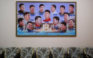 A selection of authorised North Korean haircuts for men in the Changgwang Health and Recreation Complex.