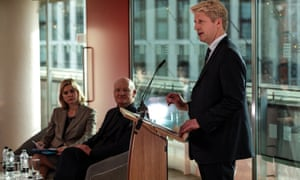 Jo Johnson (right) makes a speech calling for a people's vote on Theresa May's Brexit deal at the Southbank Centre, watched by fellow former Tory ministers Justine Greening and David Willetts.