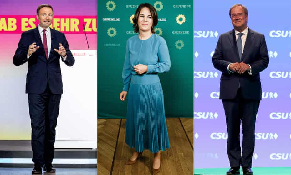 Christian Lindner of the Free Democratic party, Annalena Baerbock, co-leader of co-leader of Alliance 90/the Greens,  and Armin Laschet, leader of the CDU.