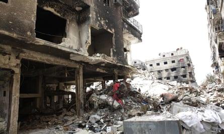 The ruins of Yarmouk refugee camp near Damascus