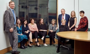 From left: Chris Bryant, Labour MP for Rhondda; Jo Swinson, Liberal Democrat MP for East Dunbartonshire; Lucy Powell, Labour MP for Manchester Central; Maria Miller, Conservative MP for Basingstoke and chair of the women and equalities select committee; Jess Phillips, Labour MP for Birmingham, Yardley; Anna Soubry, Conservative MP for Broxtowe; John Mann, Labour MP for Bassetlaw; Stella Creasy, Labour MP for Walthamstow; Bex Bailey, campaigner; Caroline Lucas, Green party co-leader and MP for Brighton Pavilion. Shot on location at Portcullis House, London SW1.