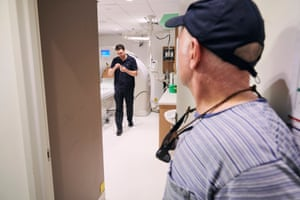 Regional Imaging chief radiographer Jack Feeney returns after doing a CT scan on the coin.
