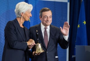 President Mario Draghi handing over the chairmanship to his successor Christine Lagarde in Frankfurt today