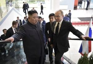 Kim takes a lift heading to the talks