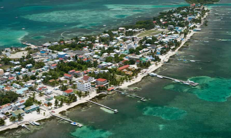 An aerial view of the Belize coastline