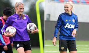 Manchester City's Janine Beckie, left, and Jackie Groenen of Manchester United prepare for Saturday's derby.