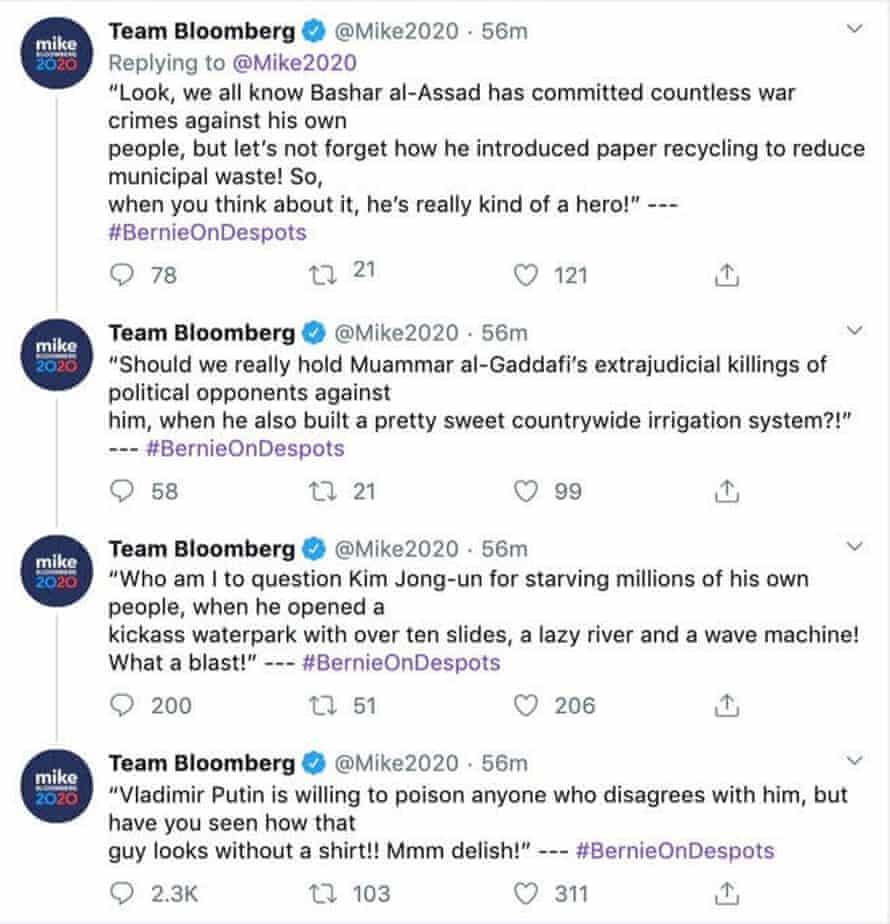 Mike Bloomberg's tweets.