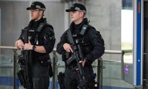 Armed police Westminster underground station