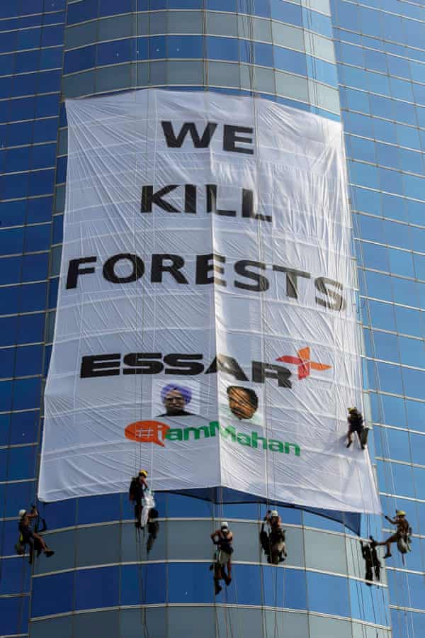 A Greenpeace protest against Essar Groups<br>in Mumbai last year.