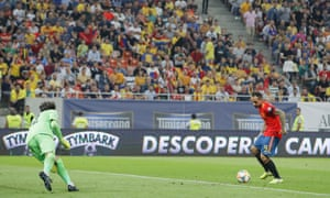 Spain's Paco Alcacer scores his side's second goal.