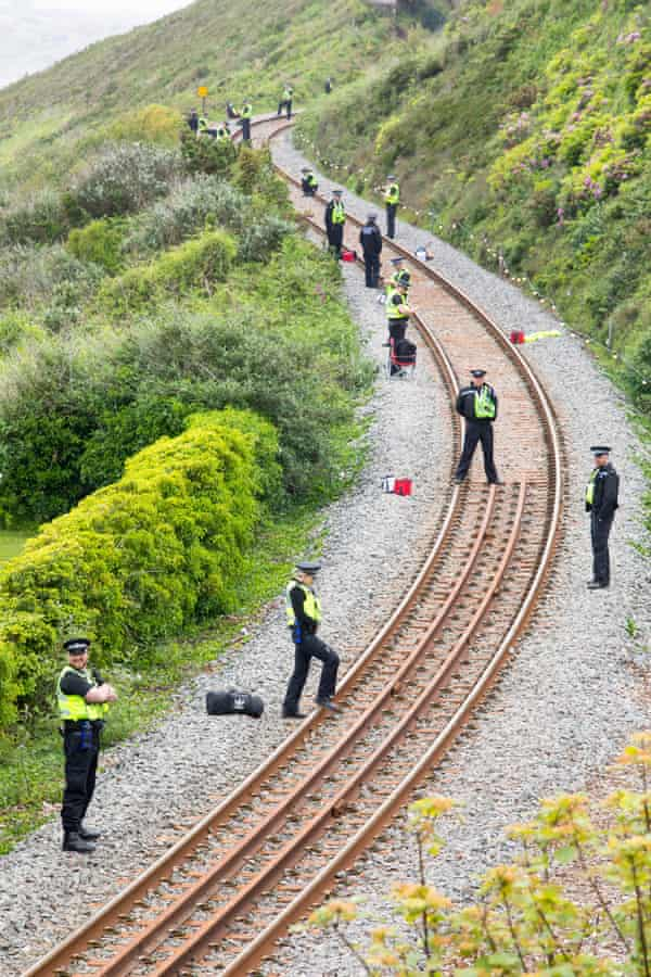 Police on the train line at Carbis Bay ahead of the G7 Summit.