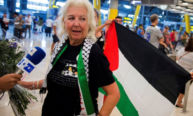 Spanish activist Lucia Mazarrasa arrives at Barajas international airport in Madrid on Wednesday after being arrested and deported by Israel.