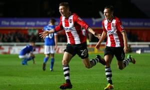 Jack Stacey after scoring winning goal for Exeter against Carlisle.